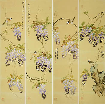 Chinese Four Screens of Flowers and Birds Painting,35cm x 136cm,xm21184015-x