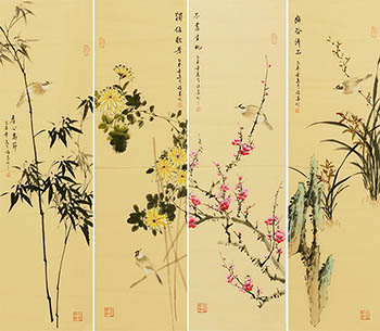 Chinese Four Screens of Flowers and Birds Painting,33cm x 117cm,xm21184016-x