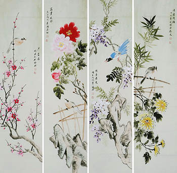 Chinese Four Screens of Flowers and Birds Painting,35cm x 136cm,zga21210013-x