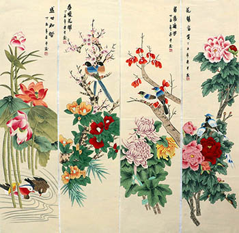 Chinese Four Screens of Flowers and Birds Painting,35cm x 136cm,zjp21110015-x