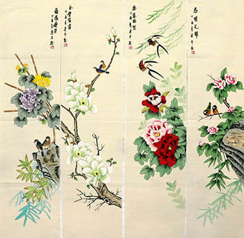 Chinese Four Screens of Flowers and Birds Painting,35cm x 136cm,zjp21110016-x