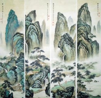 Chinese Four Screens of Landscapes Painting,35cm x 136cm,1006009-x