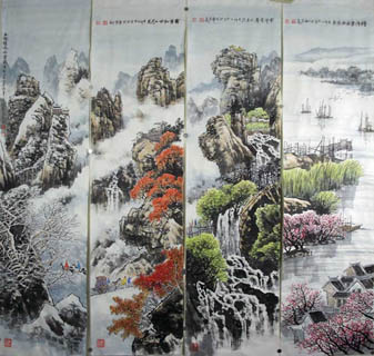 Chinese Four Screens of Landscapes Painting,35cm x 136cm,1006015-x