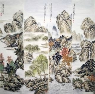 Chinese Four Screens of Landscapes Painting,35cm x 136cm,1006084-x