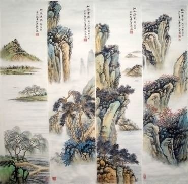 Chinese Four Screens of Landscapes Painting,35cm x 136cm,1006085-x