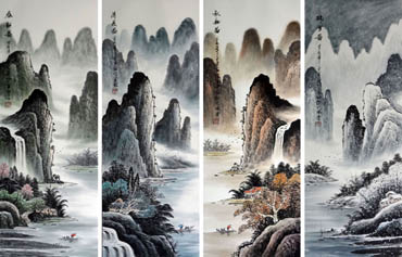Chinese Four Screens of Landscapes Painting,34cm x 90cm,1057009-x