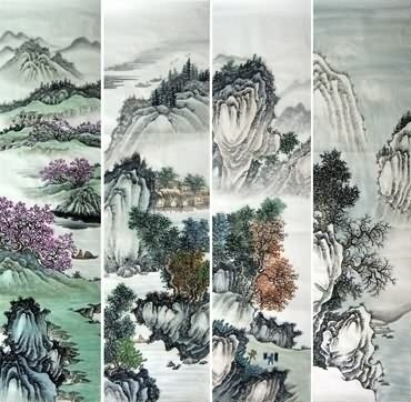 Chinese Four Screens of Landscapes Painting,35cm x 136cm,1101001-x