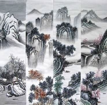 Chinese Four Screens of Landscapes Painting,35cm x 136cm,1101002-x