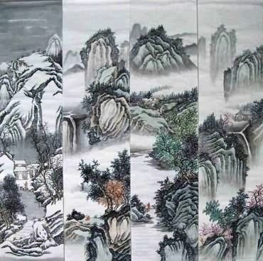 Chinese Four Screens of Landscapes Painting,35cm x 136cm,1101003-x