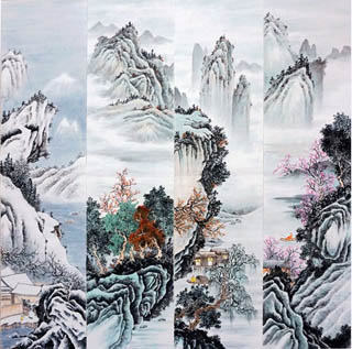 Chinese Four Screens of Landscapes Painting,35cm x 136cm,1101004-x