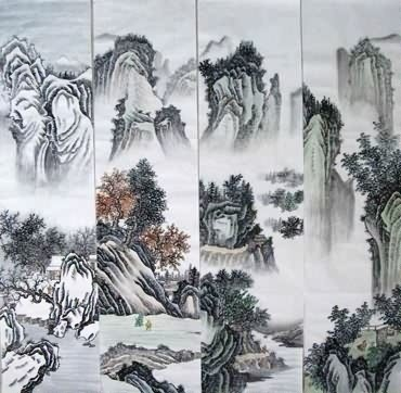 Chinese Four Screens of Landscapes Painting,35cm x 136cm,1101005-x