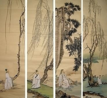 Chinese Four Screens of Landscapes Painting,33cm x 130cm,1113002-x