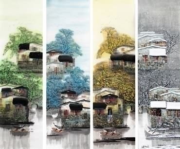 Chinese Four Screens of Landscapes Painting,35cm x 136cm,1464004-x