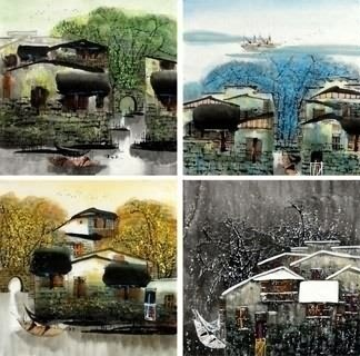 Chinese Four Screens of Landscapes Painting,50cm x 50cm,1464005-x