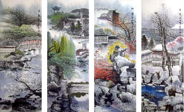 Four Screens of Landscapes,50cm x 136cm(20〃 x 53〃),gj11098007-z