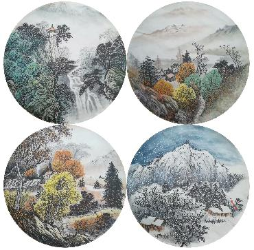 Chinese Four Screens of Landscapes Painting,50cm x 50cm,lz11095001-x