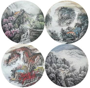 Chinese Four Screens of Landscapes Painting,50cm x 50cm,lz11095002-x
