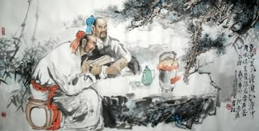 Chinese Gao Shi Play Chess Tea Song Painting,69cm x 138cm,3447022-x