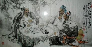 Chinese Gao Shi Play Chess Tea Song Painting,69cm x 138cm,3447092-x