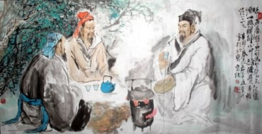 Chinese Gao Shi Play Chess Tea Song Painting,69cm x 138cm,3447101-x