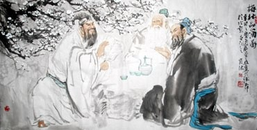 Chinese Gao Shi Play Chess Tea Song Painting,69cm x 138cm,3447102-x