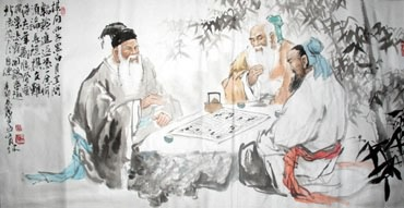 Chinese Gao Shi Play Chess Tea Song Painting,69cm x 138cm,3447103-x