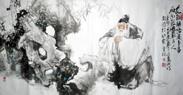 Chinese Gao Shi Play Chess Tea Song Painting,69cm x 138cm,3447105-x