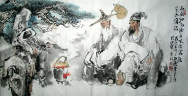 Chinese Gao Shi Play Chess Tea Song Painting,69cm x 138cm,3447110-x