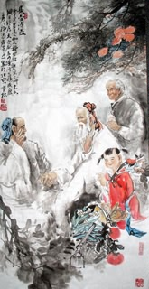 Chinese Gao Shi Play Chess Tea Song Painting,69cm x 138cm,3447114-x