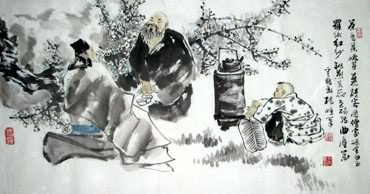 Chinese Gao Shi Play Chess Tea Song Painting,50cm x 100cm,3518114-x