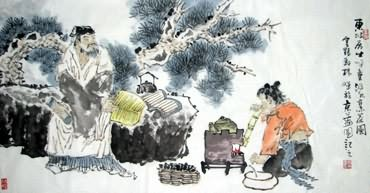 Chinese Gao Shi Play Chess Tea Song Painting,50cm x 100cm,3518115-x