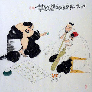 Chinese Gao Shi Play Chess Tea Song Painting,66cm x 66cm,3540002-x