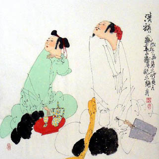 Chinese Gao Shi Play Chess Tea Song Painting,66cm x 66cm,3540004-x