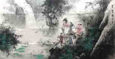 Chinese Gao Shi Play Chess Tea Song Painting,69cm x 138cm,3542003-x