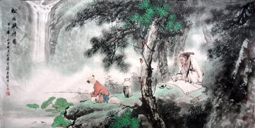 Chinese Gao Shi Play Chess Tea Song Painting,69cm x 138cm,3542005-x