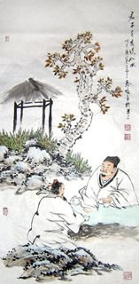 Chinese Gao Shi Play Chess Tea Song Painting,50cm x 100cm,3708005-x