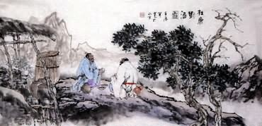 Chinese Gao Shi Play Chess Tea Song Painting,50cm x 100cm,3711020-x