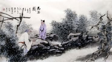 Chinese Gao Shi Play Chess Tea Song Painting,50cm x 100cm,3711028-x