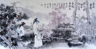 Chinese Gao Shi Play Chess Tea Song Painting,50cm x 100cm,3711037-x