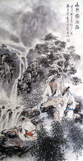 Chinese Gao Shi Play Chess Tea Song Painting,50cm x 100cm,3711052-x