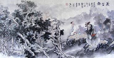 Chinese Gao Shi Play Chess Tea Song Painting,50cm x 100cm,3711054-x