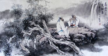 Chinese Gao Shi Play Chess Tea Song Painting,50cm x 100cm,3711056-x