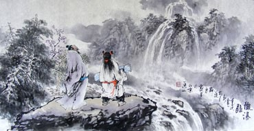 Chinese Gao Shi Play Chess Tea Song Painting,50cm x 100cm,3711057-x
