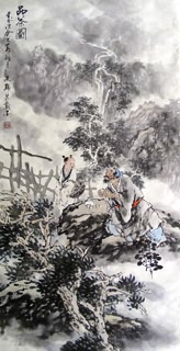Chinese Gao Shi Play Chess Tea Song Painting,50cm x 100cm,3711058-x