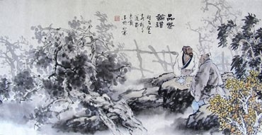 Chinese Gao Shi Play Chess Tea Song Painting,50cm x 100cm,3711060-x
