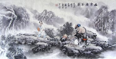 Chinese Gao Shi Play Chess Tea Song Painting,50cm x 100cm,3711062-x