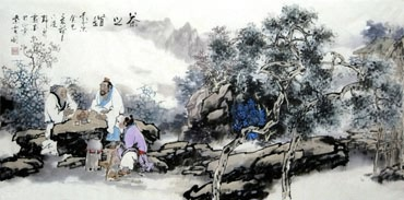 Chinese Gao Shi Play Chess Tea Song Painting,50cm x 100cm,3711063-x