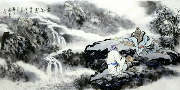 Chinese Gao Shi Play Chess Tea Song Painting,50cm x 100cm,3711064-x