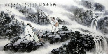 Chinese Gao Shi Play Chess Tea Song Painting,50cm x 100cm,3711065-x