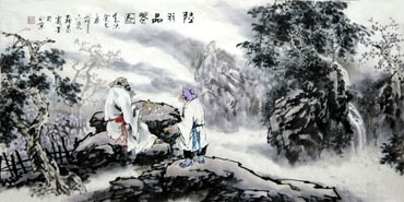 Chinese Gao Shi Play Chess Tea Song Painting,50cm x 100cm,3711067-x